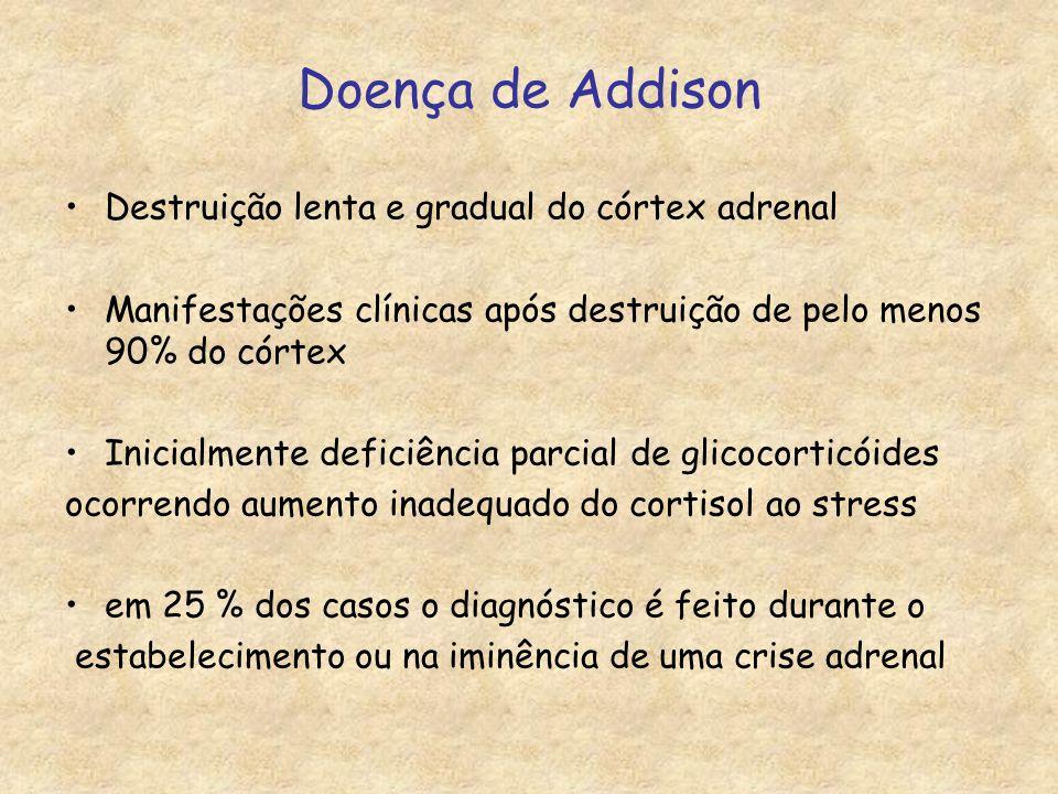 Doença de Addison Destruição lenta e gradual do córtex adrenal Manifestações clínicas após destruição de pelo menos 90% do córtex Inicialmente deficiência parcial de glicocorticóides ocorrendo aumento inadequado do cortisol ao stress em 25 % dos casos o diagnóstico é feito durante o estabelecimento ou na iminência de uma crise adrenal
