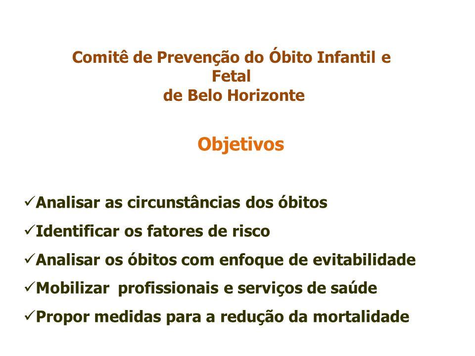 Objetivos Analisar as circunstâncias dos óbitos Identificar os fatores de risco Analisar os óbitos com enfoque de evitabilidade Mobilizar profissionais e serviços de saúde Propor medidas para a redução da mortalidade Comitê de Prevenção do Óbito Infantil e Fetal de Belo Horizonte