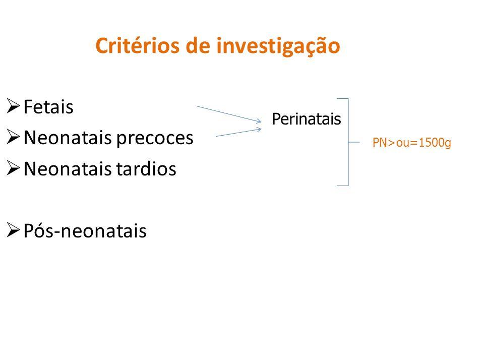Critérios de investigação  Fetais  Neonatais precoces  Neonatais tardios  Pós-neonatais Perinatais PN>ou=1500g