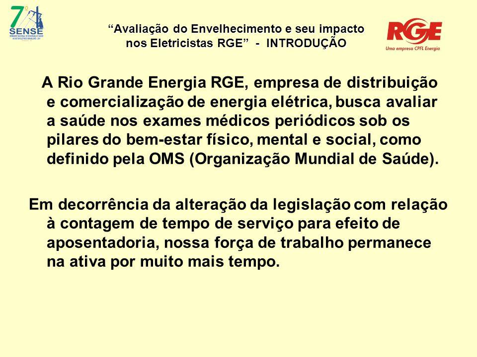 Avaliação do Envelhecimento e seu impacto nos Eletricistas RGE Muito obrigada.