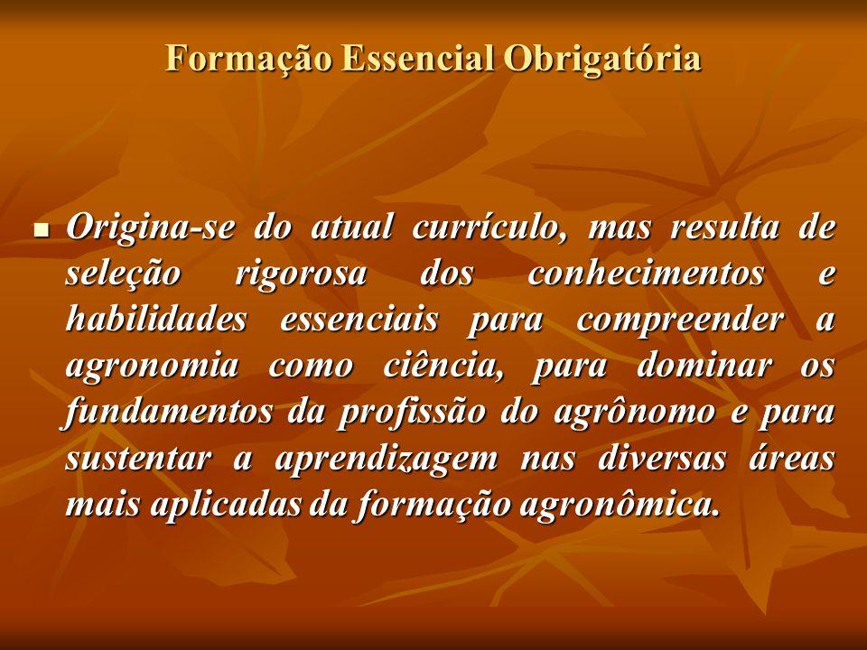 Formação Essencial Obrigatória Pressupõe o forte encadeamento de aprendizagens entre disciplinas pré- requisitos, a não repetição de conteúdos e sim sua aplicação em processos de diagnóstico, de planejamento e de ação.