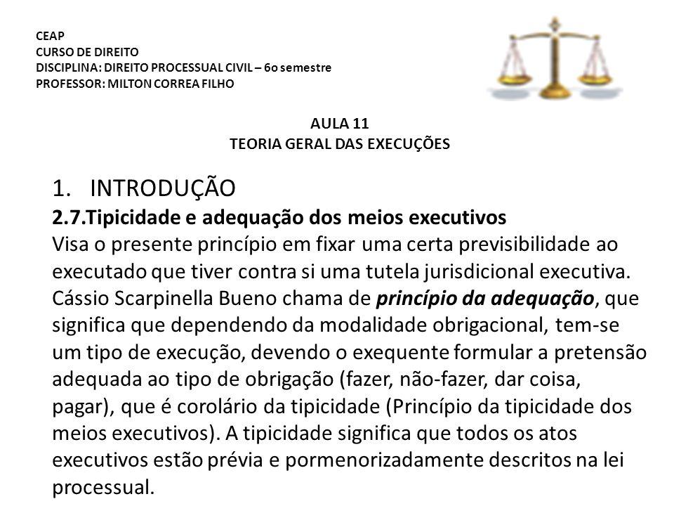 CEAP CURSO DE DIREITO DISCIPLINA: DIREITO PROCESSUAL CIVIL – 6o semestre PROFESSOR: MILTON CORREA FILHO AULA 11 TEORIA GERAL DAS EXECUÇÕES 1.INTRODUÇÃO 2.7.Tipicidade e adequação dos meios executivos Visa o presente princípio em fixar uma certa previsibilidade ao executado que tiver contra si uma tutela jurisdicional executiva.