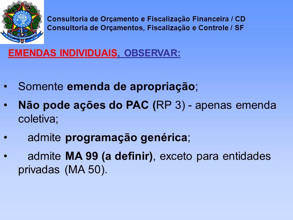 Somente emenda de apropriação; Não pode ações do PAC (RP 3) - apenas emenda coletiva; admite programação genérica; admite MA 99 (a definir), exceto para entidades privadas (MA 50).