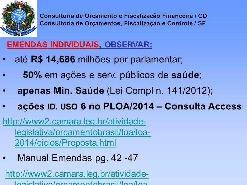 até R$ 14,686 milhões por parlamentar; 50% em ações e serv.