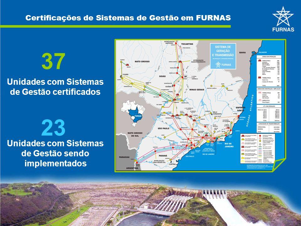 Certificações de Sistemas de Gestão em FURNAS 37 Unidades com Sistemas de Gestão certificados 23 Unidades com Sistemas de Gestão sendo implementados