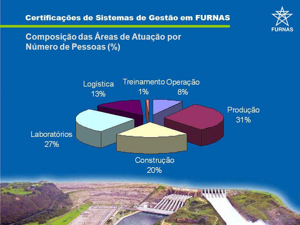 Composição das Áreas de Atuação por Número de Pessoas (%)
