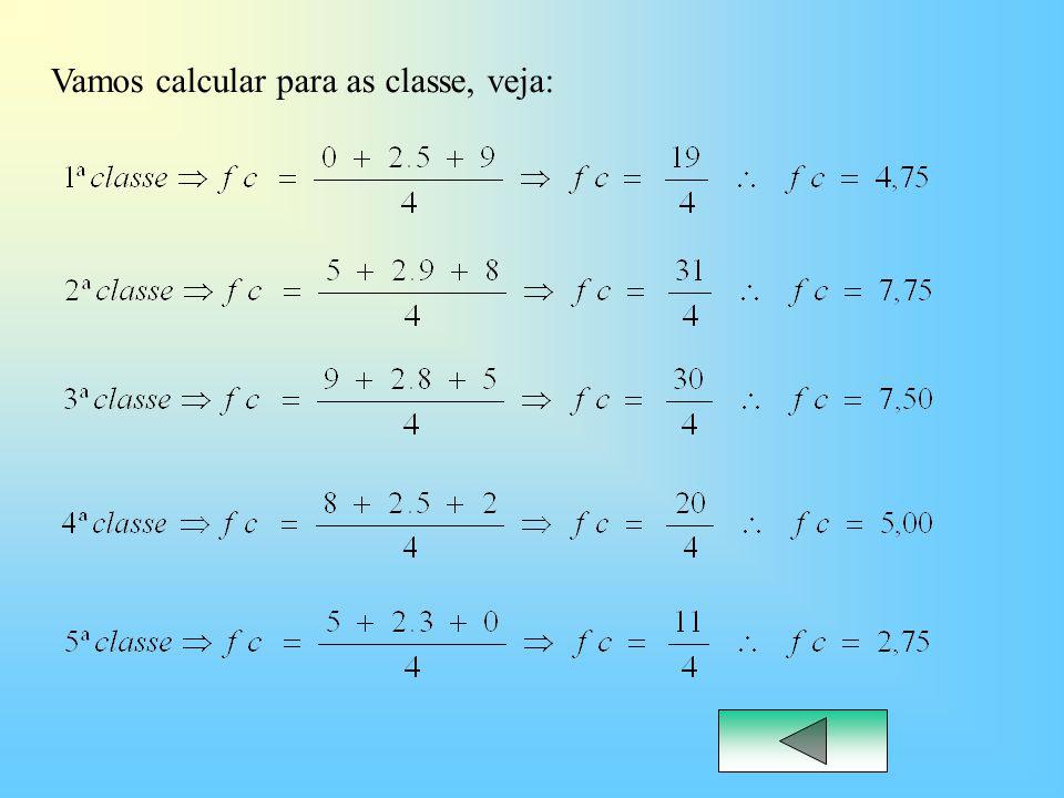 Vamos calcular para as classe, veja: