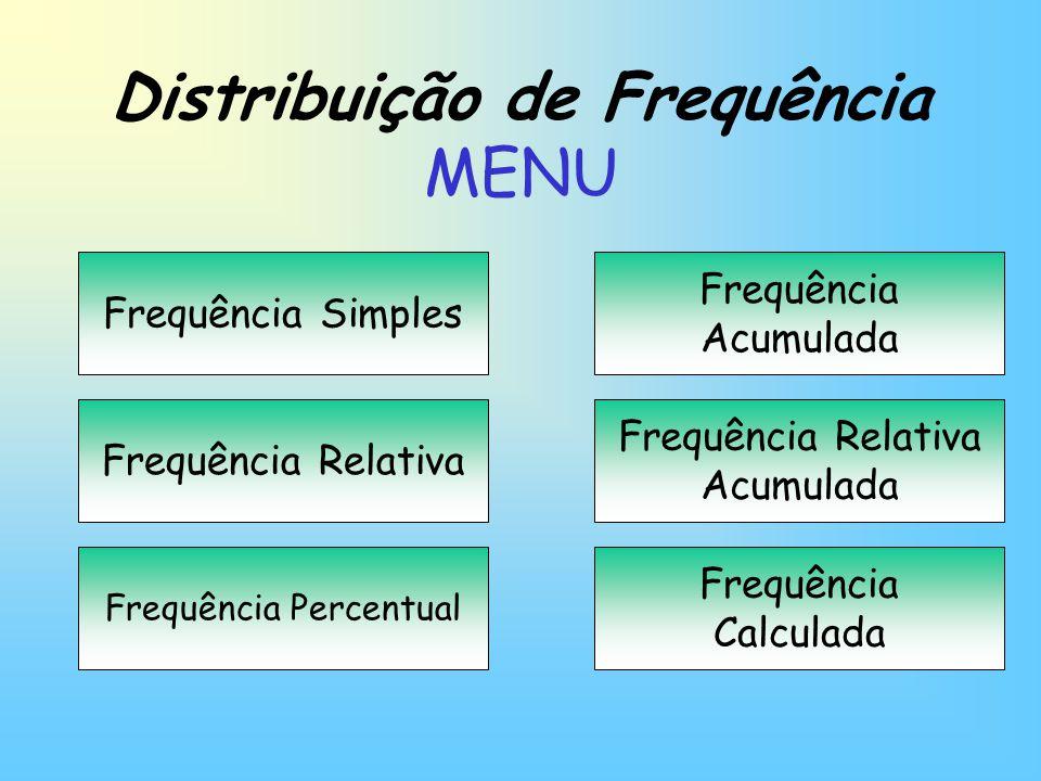 Distribuição de Frequência MENU Frequência Simples Frequência Relativa Frequência Percentual Frequência Acumulada Frequência Calculada Frequência Rela