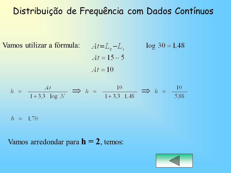 Distribuição de Frequência com Dados Contínuos Vamos utilizar a fórmula: Vamos arredondar para h = 2, temos: