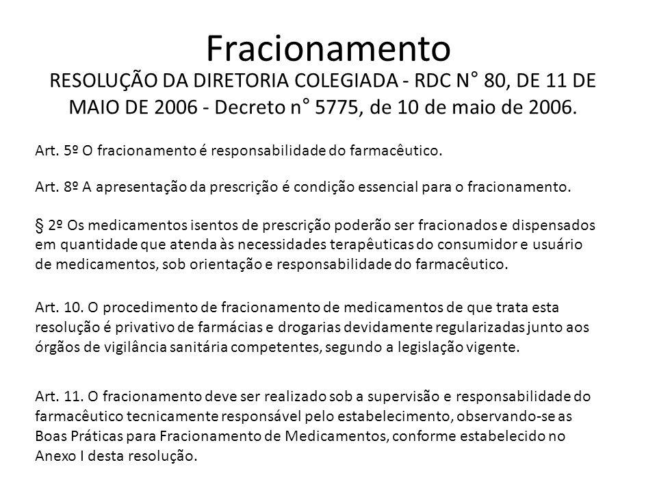 Fracionamento Art. 5º O fracionamento é responsabilidade do farmacêutico. Art. 8º A apresentação da prescrição é condição essencial para o fracionamen