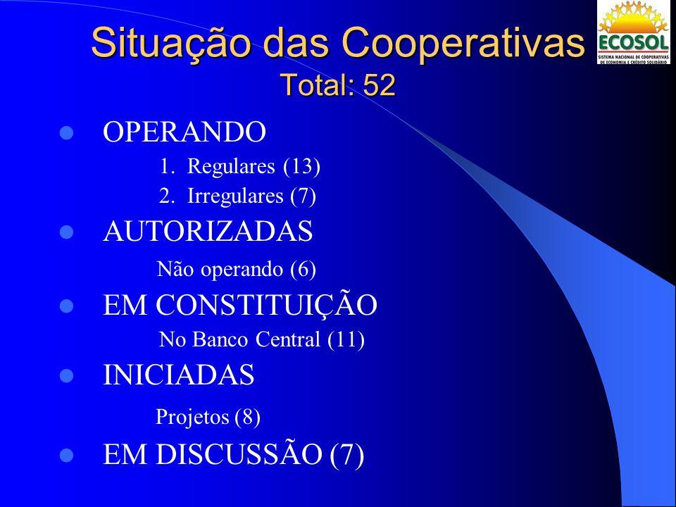 Situação das Cooperativas Total: 52 OPERANDO 1.Regulares (13) 2.Irregulares (7) AUTORIZADAS Não operando (6) EM CONSTITUIÇÃO No Banco Central (11) INI