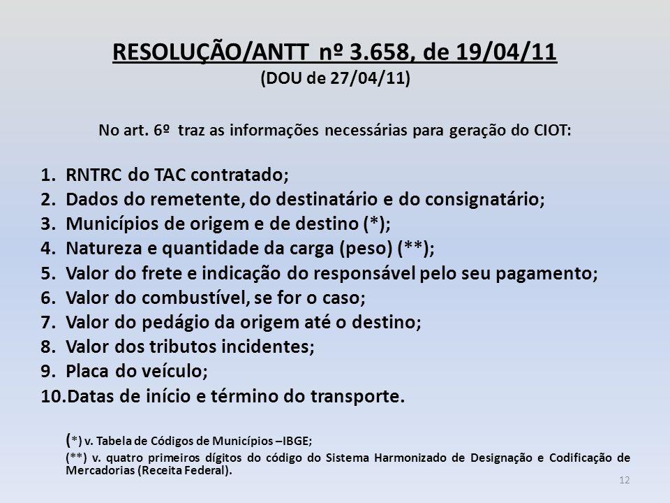RESOLUÇÃO/ANTT nº 3.658, de 19/04/11 (DOU de 27/04/11) No art. 6º traz as informações necessárias para geração do CIOT: 1.RNTRC do TAC contratado; 2.D