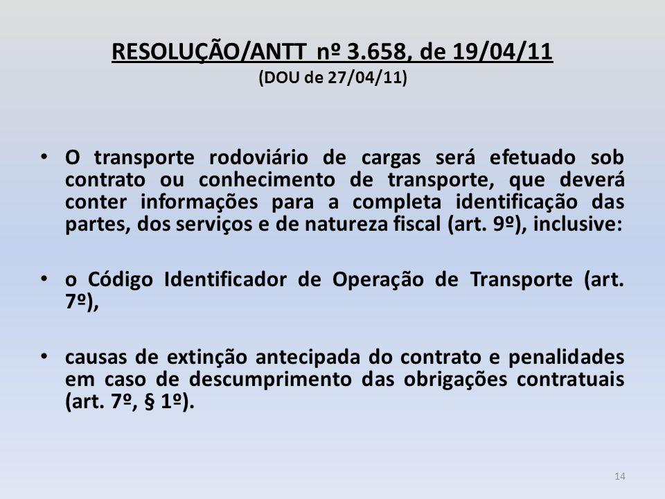 RESOLUÇÃO/ANTT nº 3.658, de 19/04/11 (DOU de 27/04/11) O transporte rodoviário de cargas será efetuado sob contrato ou conhecimento de transporte, que
