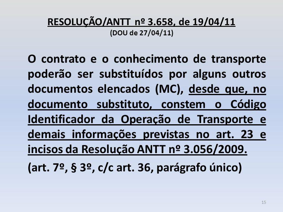 RESOLUÇÃO/ANTT nº 3.658, de 19/04/11 (DOU de 27/04/11) O contrato e o conhecimento de transporte poderão ser substituídos por alguns outros documentos