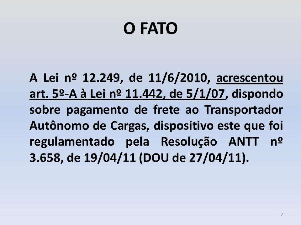 O FATO A Lei nº 12.249, de 11/6/2010, acrescentou art. 5º-A à Lei nº 11.442, de 5/1/07, dispondo sobre pagamento de frete ao Transportador Autônomo de