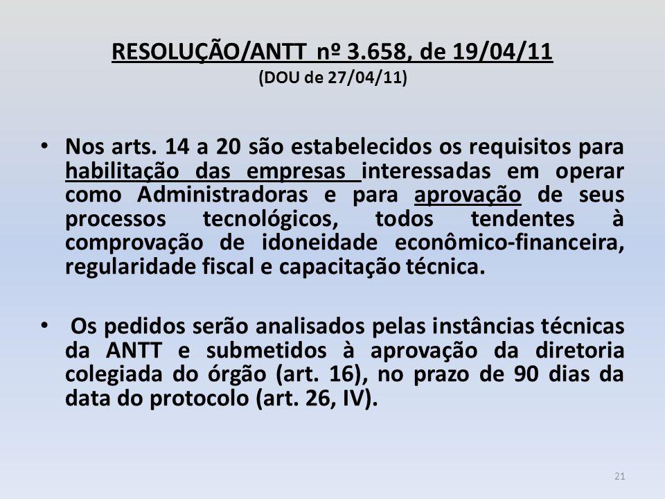 RESOLUÇÃO/ANTT nº 3.658, de 19/04/11 (DOU de 27/04/11) Nos arts. 14 a 20 são estabelecidos os requisitos para habilitação das empresas interessadas em