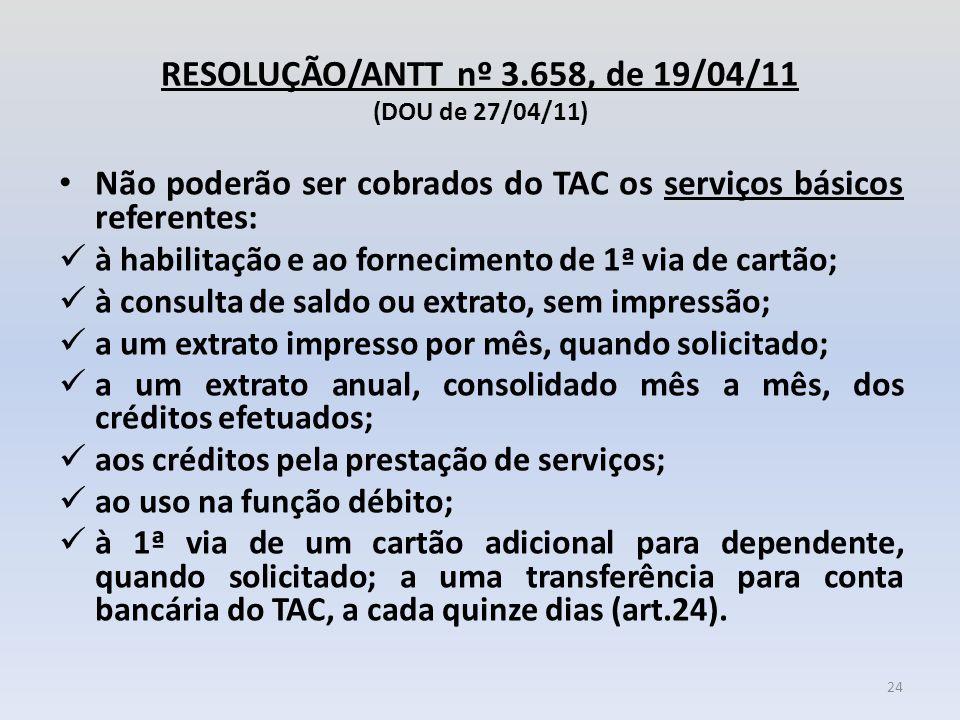 RESOLUÇÃO/ANTT nº 3.658, de 19/04/11 (DOU de 27/04/11) Não poderão ser cobrados do TAC os serviços básicos referentes: à habilitação e ao fornecimento