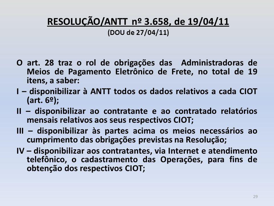 RESOLUÇÃO/ANTT nº 3.658, de 19/04/11 (DOU de 27/04/11) O art. 28 traz o rol de obrigações das Administradoras de Meios de Pagamento Eletrônico de Fret