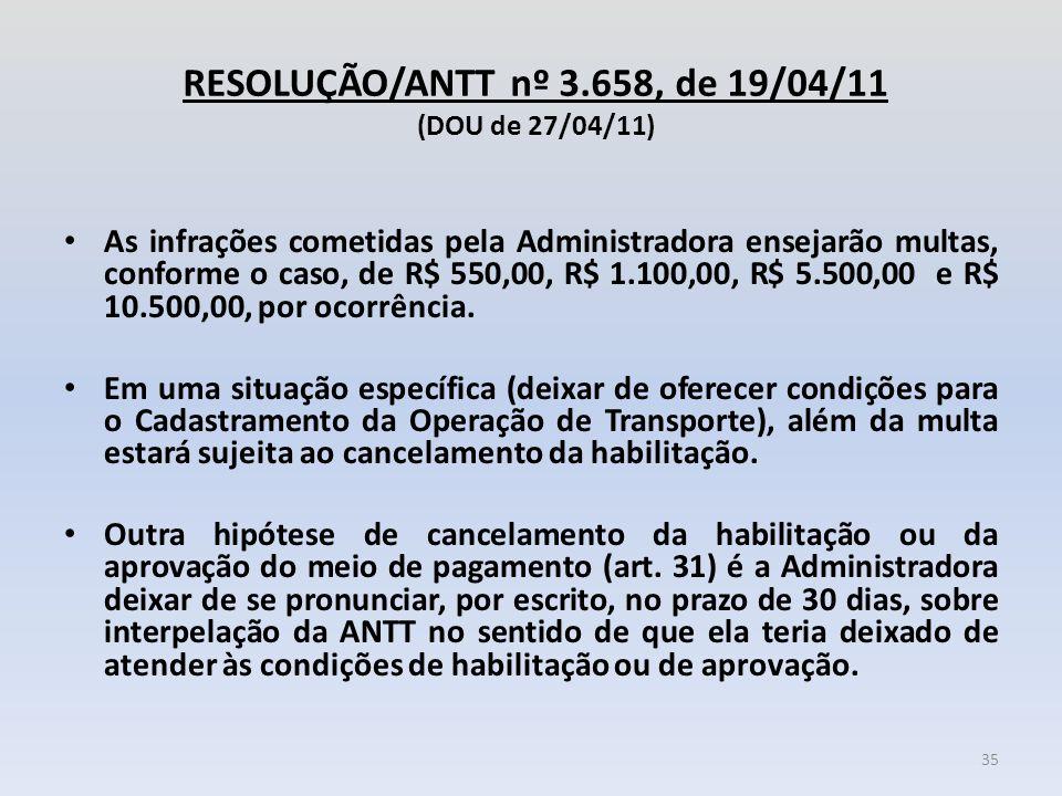 RESOLUÇÃO/ANTT nº 3.658, de 19/04/11 (DOU de 27/04/11) As infrações cometidas pela Administradora ensejarão multas, conforme o caso, de R$ 550,00, R$