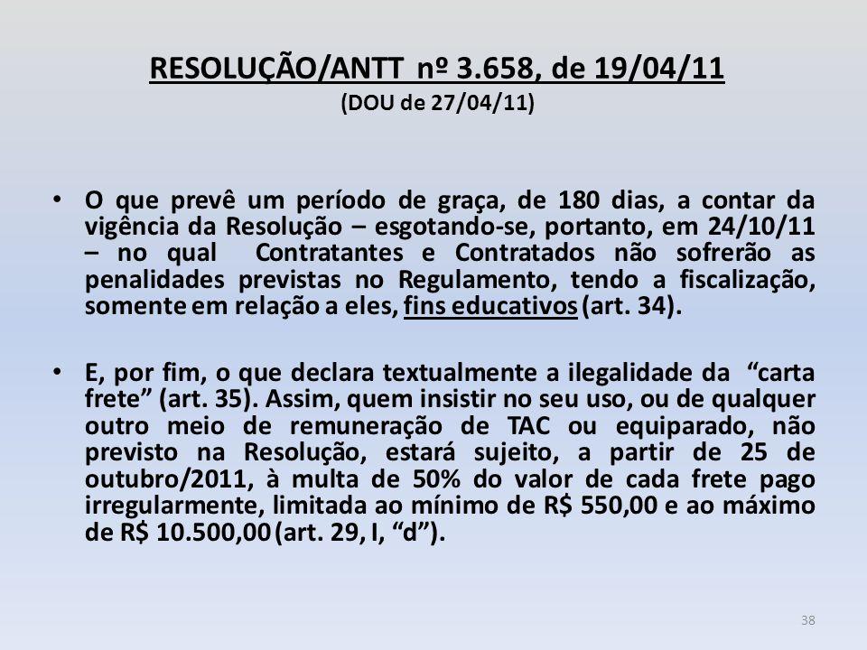 RESOLUÇÃO/ANTT nº 3.658, de 19/04/11 (DOU de 27/04/11) O que prevê um período de graça, de 180 dias, a contar da vigência da Resolução – esgotando-se,