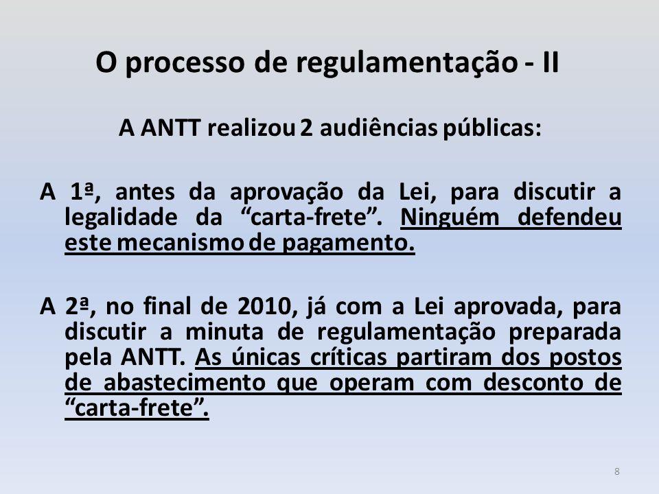 """O processo de regulamentação - II A ANTT realizou 2 audiências públicas: A 1ª, antes da aprovação da Lei, para discutir a legalidade da """"carta-frete""""."""