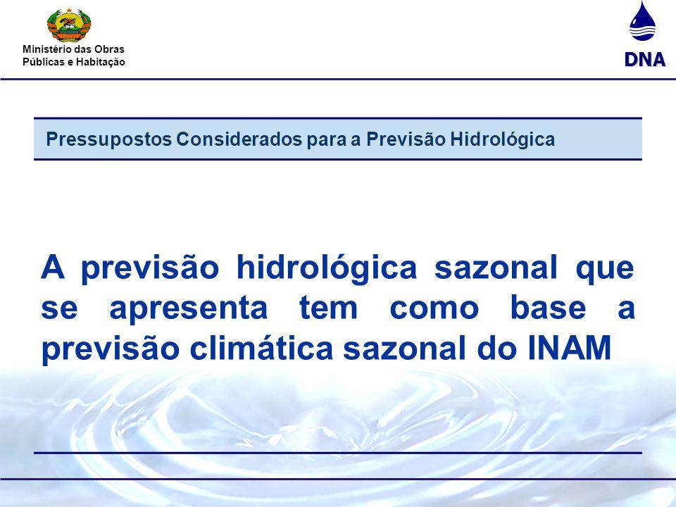 DNA Ministério das Obras Públicas e Habitação Pressupostos Considerados para a Previsão Hidrológica A previsão hidrológica sazonal que se apresenta te