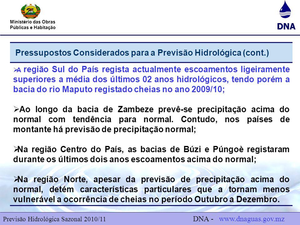 DNA Ministério das Obras Públicas e Habitação Pressupostos Considerados para a Previsão Hidrológica (cont.)  A região Sul do País regista actualmente