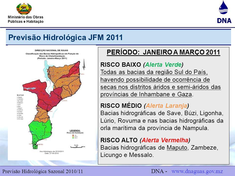 DNA Ministério das Obras Públicas e Habitação Previsão Hidrológica JFM 2011 6 PERÍODO: JANEIRO A MARÇO 2011 RISCO BAIXO (Alerta Verde) Todas as bacias