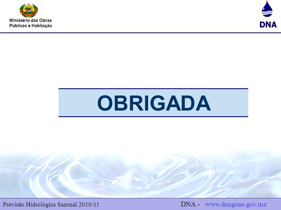 DNA Ministério das Obras Públicas e Habitação 8 Previsão Hidrológica Sazonal 2010/11 DNA - www.dnaguas.gov.mz OBRIGADA
