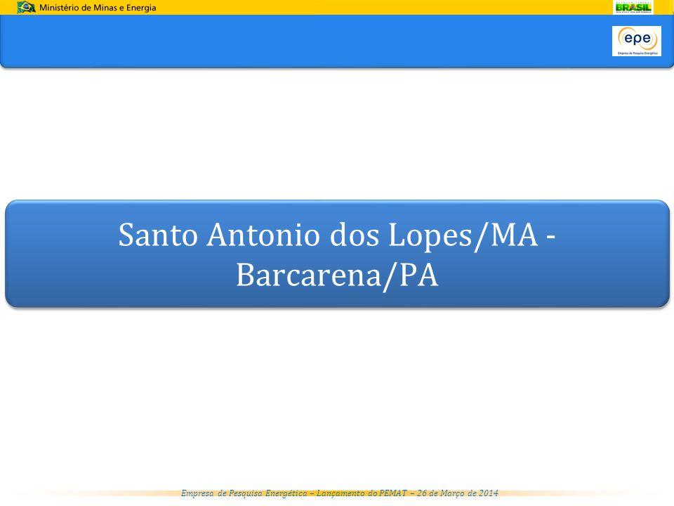 Empresa de Pesquisa Energética – Lançamento do PEMAT – 26 de Março de 2014 Santo Antonio dos Lopes/MA - Barcarena/PA