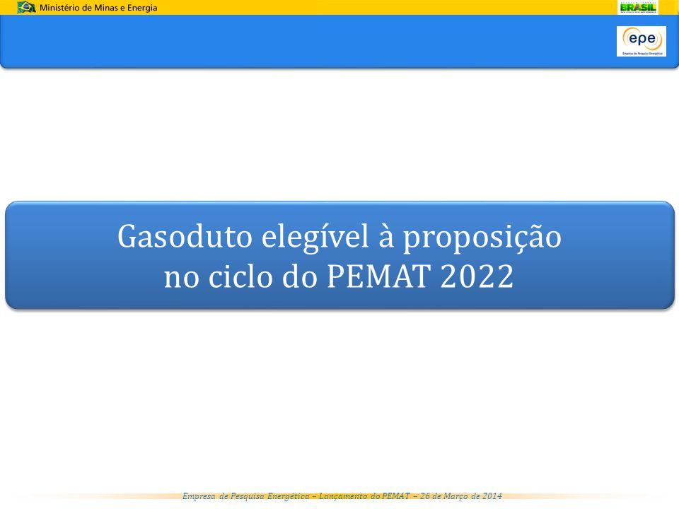 Empresa de Pesquisa Energética – Lançamento do PEMAT – 26 de Março de 2014 Gasoduto elegível à proposição no ciclo do PEMAT 2022 Gasoduto elegível à proposição no ciclo do PEMAT 2022