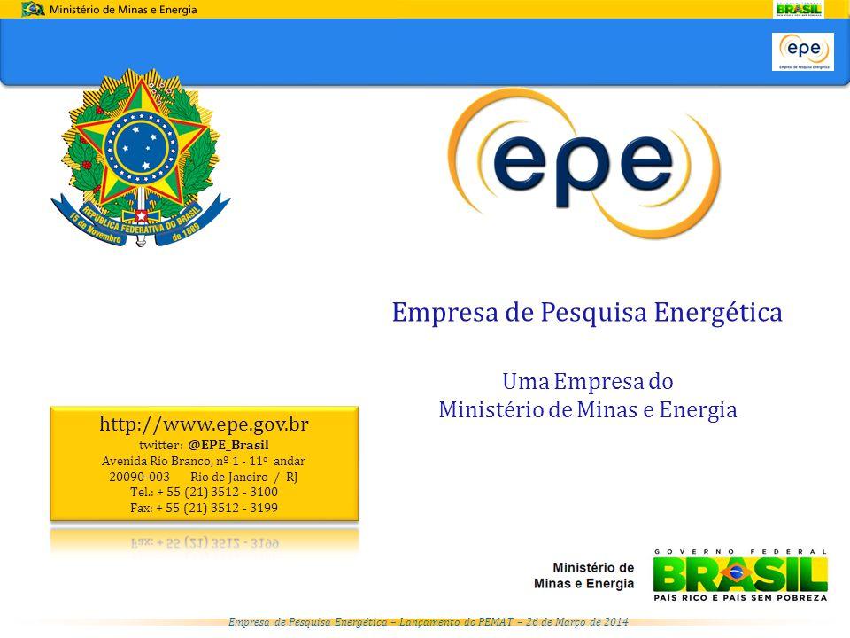 Empresa de Pesquisa Energética – Lançamento do PEMAT – 26 de Março de 2014 Empresa de Pesquisa Energética Uma Empresa do Ministério de Minas e Energia