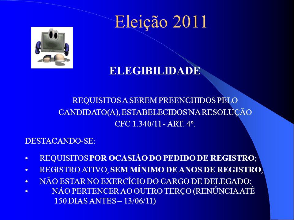 Eleição 2011 ELEGIBILIDADE REQUISITOS A SEREM PREENCHIDOS PELO CANDIDATO(A), ESTABELECIDOS NA RESOLUÇÃO CFC 1.340/11 - ART.