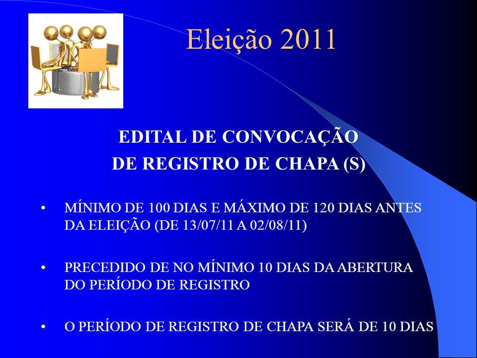 Eleição 2011 EDITAL DE CONVOCAÇÃO DE REGISTRO DE CHAPA (S) MÍNIMO DE 100 DIAS E MÁXIMO DE 120 DIAS ANTES DA ELEIÇÃO (DE 13/07/11 A 02/08/11) PRECEDIDO DE NO MÍNIMO 10 DIAS DA ABERTURA DO PERÍODO DE REGISTRO O PERÍODO DE REGISTRO DE CHAPA SERÁ DE 10 DIAS