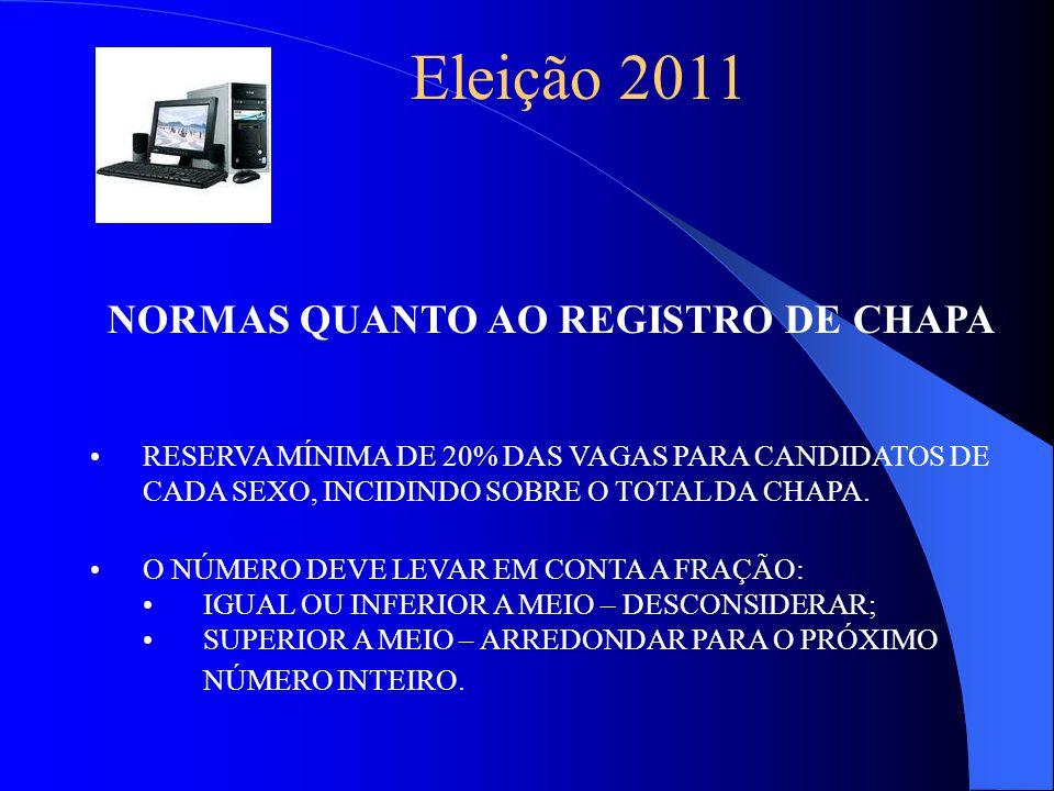 Eleição 2011 NORMAS QUANTO AO REGISTRO DE CHAPA RESERVA MÍNIMA DE 20% DAS VAGAS PARA CANDIDATOS DE CADA SEXO, INCIDINDO SOBRE O TOTAL DA CHAPA.