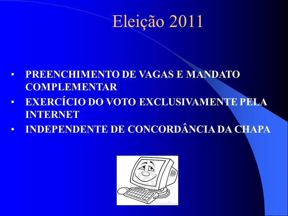 Eleição 2011 PREENCHIMENTO DE VAGAS E MANDATO COMPLEMENTAR EXERCÍCIO DO VOTO EXCLUSIVAMENTE PELA INTERNET INDEPENDENTE DE CONCORDÂNCIA DA CHAPA