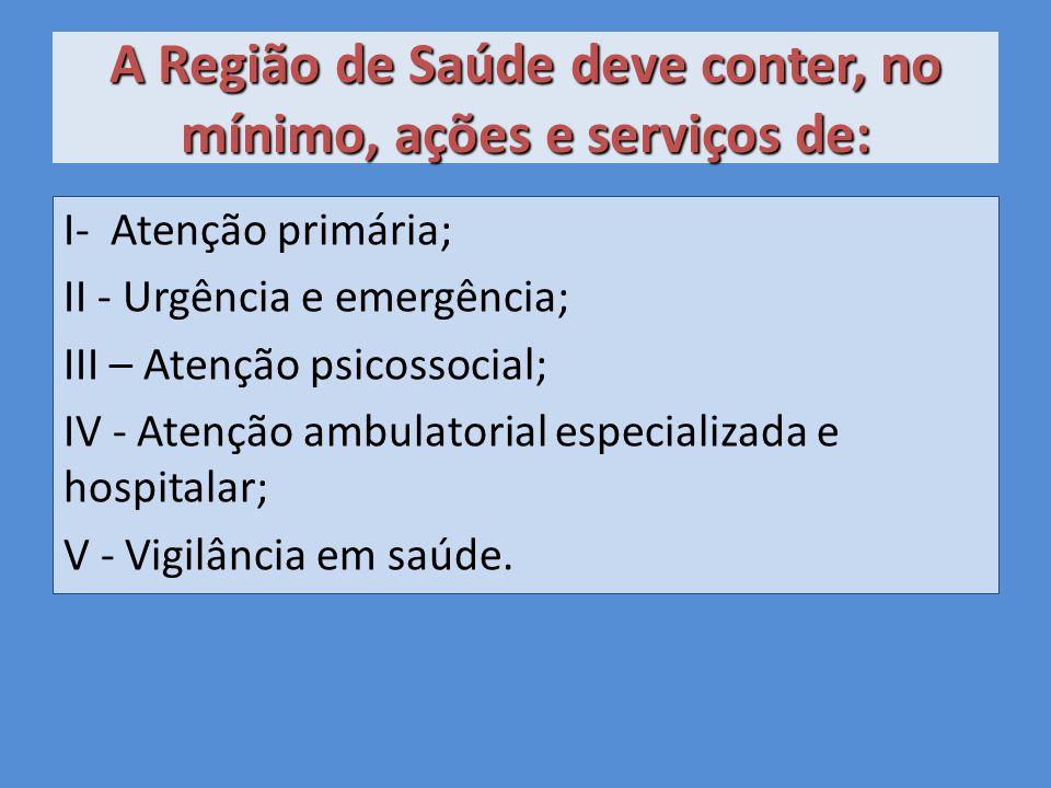 A Região de Saúde deve conter, no mínimo, ações e serviços de: I- Atenção primária; II - Urgência e emergência; III – Atenção psicossocial; IV - Atenção ambulatorial especializada e hospitalar; V - Vigilância em saúde.