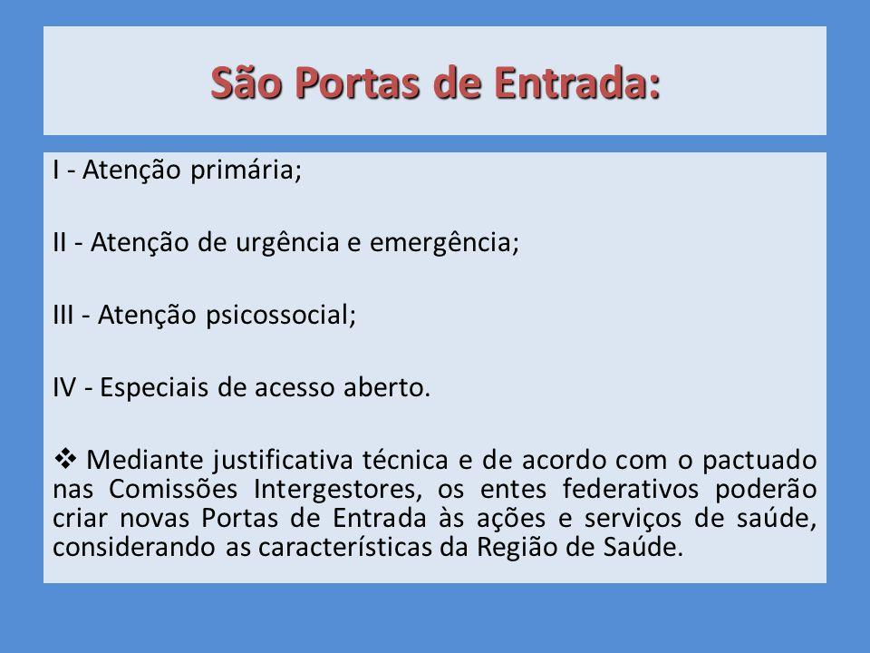 São Portas de Entrada: I - Atenção primária; II - Atenção de urgência e emergência; III - Atenção psicossocial; IV - Especiais de acesso aberto.