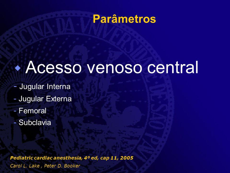 Parâmetros  Acesso venoso central - Jugular Interna - Jugular Externa - Femoral - Subclavia Pediatric cardiac anesthesia, 4º ed, cap 11, 2005 Carol L