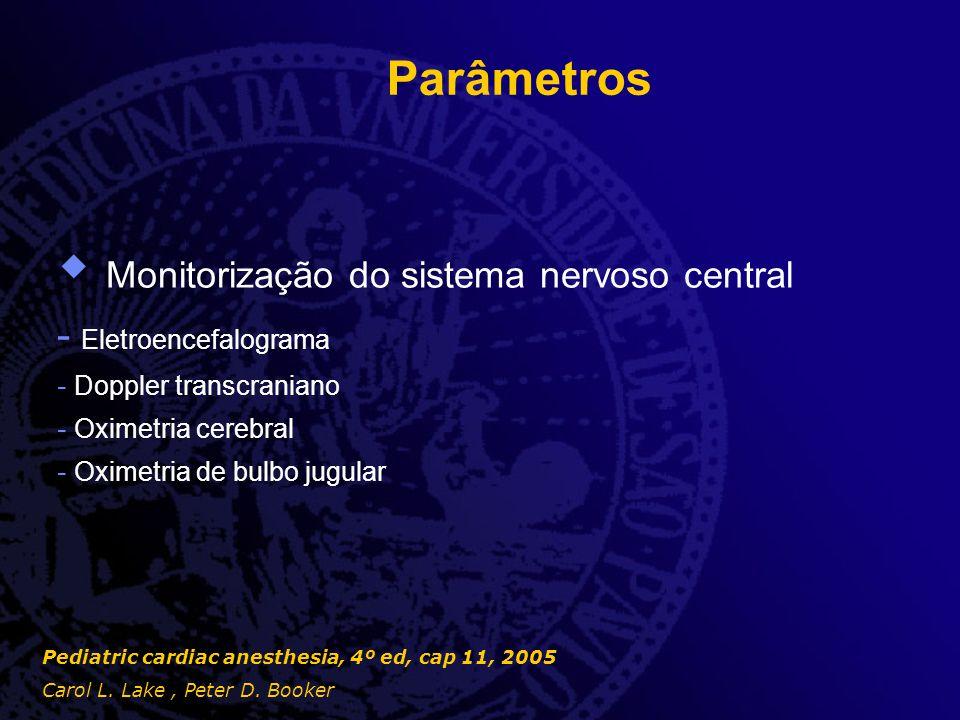 Parâmetros  Monitorização do sistema nervoso central - Eletroencefalograma - Doppler transcraniano - Oximetria cerebral - Oximetria de bulbo jugular