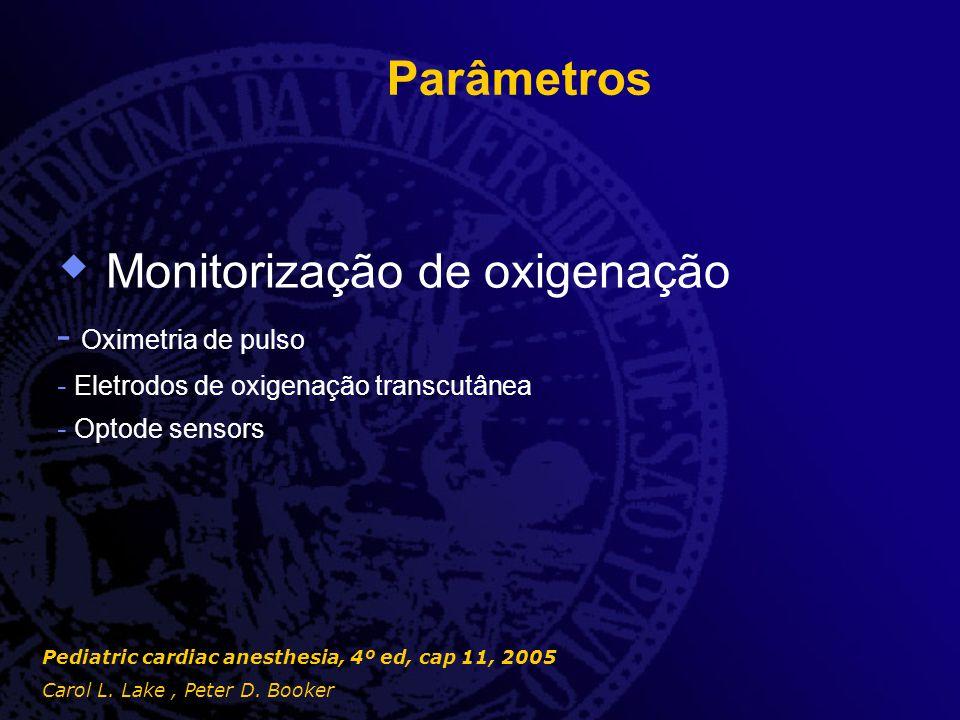 Parâmetros  Monitorização de oxigenação - Oximetria de pulso - Eletrodos de oxigenação transcutânea - Optode sensors Pediatric cardiac anesthesia, 4º