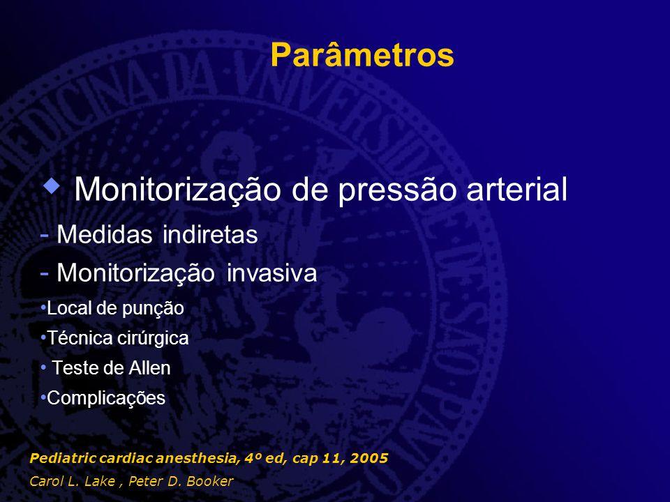 Parâmetros  Monitorização do sistema nervoso central - Eletroencefalograma - Doppler transcraniano - Oximetria cerebral - Oximetria de bulbo jugular Pediatric cardiac anesthesia, 4º ed, cap 11, 2005 Carol L.
