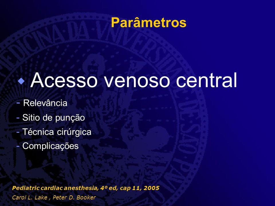 Parâmetros  Acesso venoso central - Relevância - Sitio de punção - Técnica cirúrgica - Complicações Pediatric cardiac anesthesia, 4º ed, cap 11, 2005