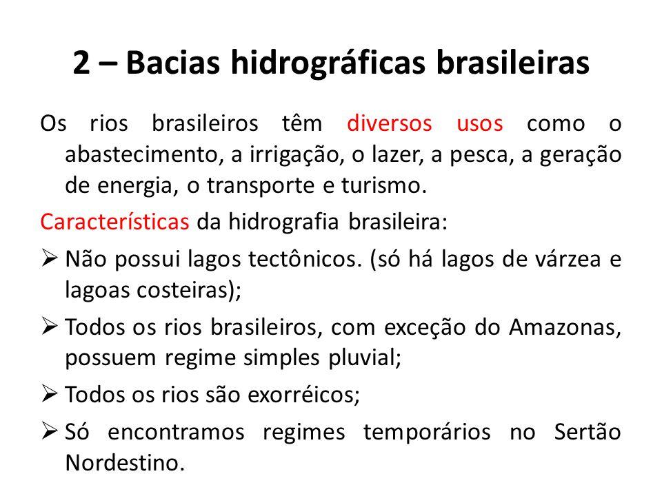 2 – Bacias hidrográficas brasileiras Os rios brasileiros têm diversos usos como o abastecimento, a irrigação, o lazer, a pesca, a geração de energia, o transporte e turismo.