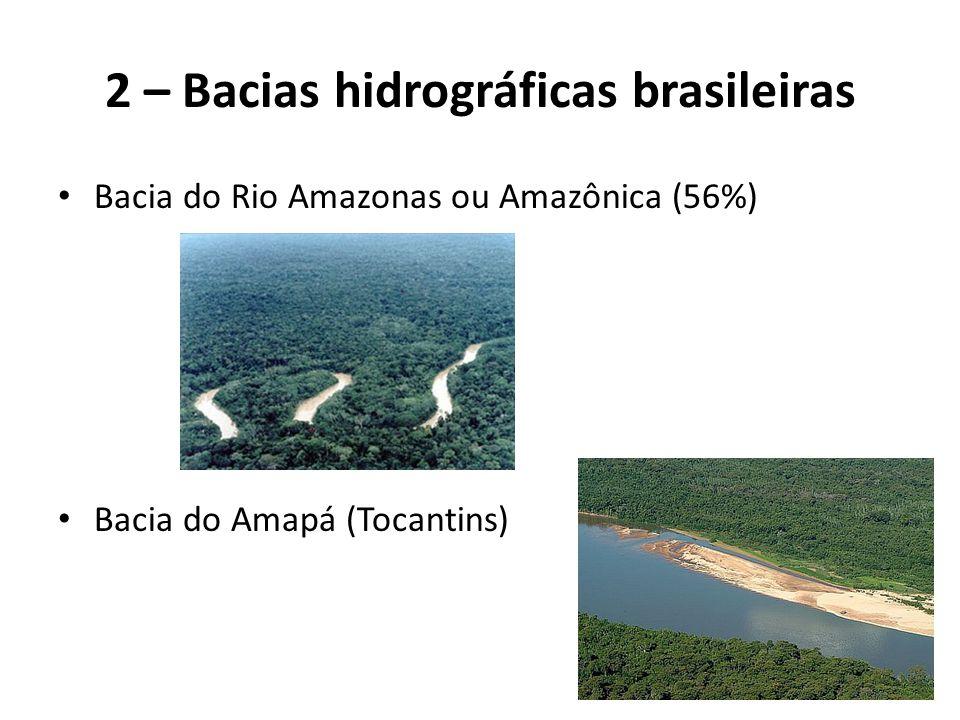 Bacia do Rio Amazonas ou Amazônica (56%) Bacia do Amapá (Tocantins) 2 – Bacias hidrográficas brasileiras