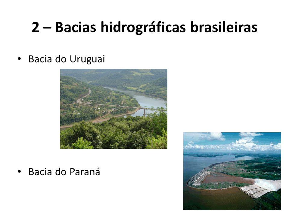 2 – Bacias hidrográficas brasileiras Bacia do Uruguai Bacia do Paraná