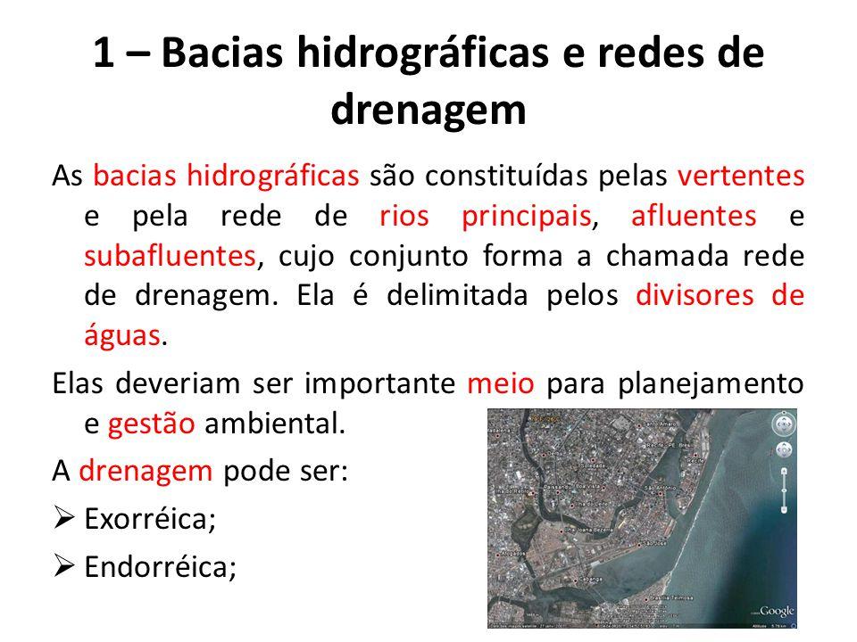1 – Bacias hidrográficas e redes de drenagem As bacias hidrográficas são constituídas pelas vertentes e pela rede de rios principais, afluentes e subafluentes, cujo conjunto forma a chamada rede de drenagem.
