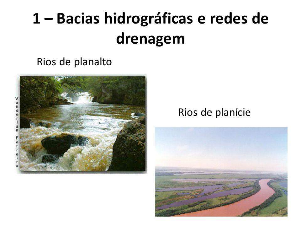 Rios de planalto Rios de planície 1 – Bacias hidrográficas e redes de drenagem