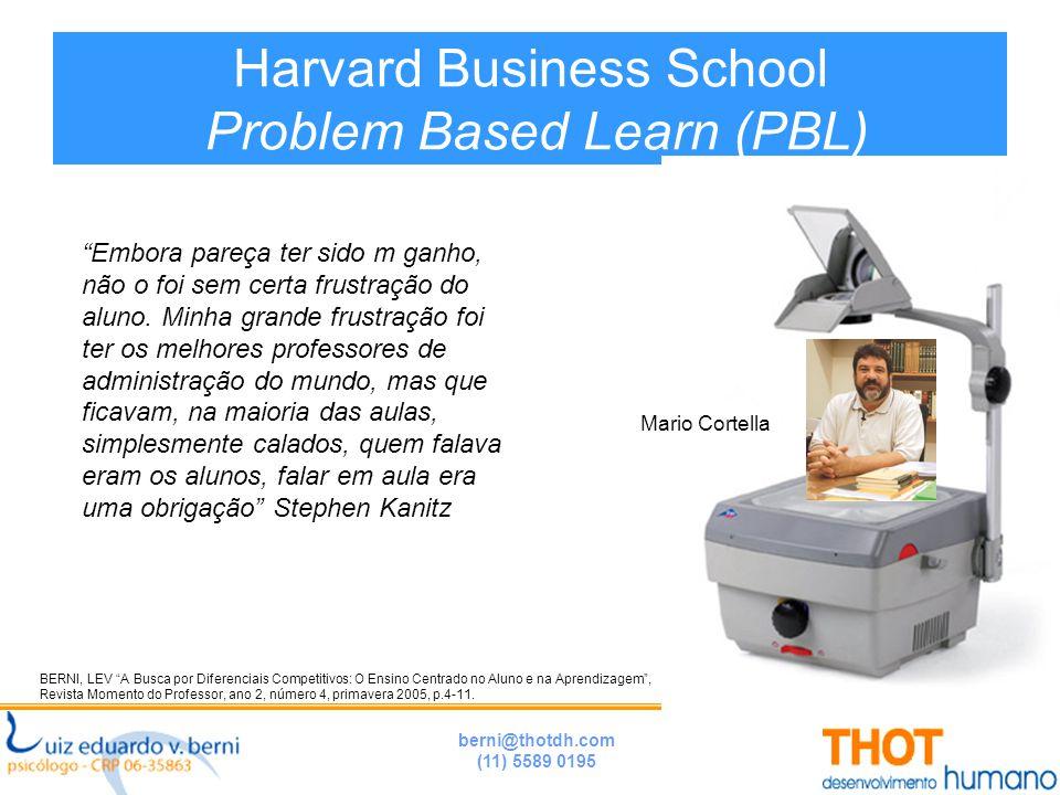 berni@thotdh.com (11) 5589 0195 Harvard Business School Problem Based Learn (PBL) BERNI, LEV A Busca por Diferenciais Competitivos: O Ensino Centrado no Aluno e na Aprendizagem , Revista Momento do Professor, ano 2, número 4, primavera 2005, p.4-11.