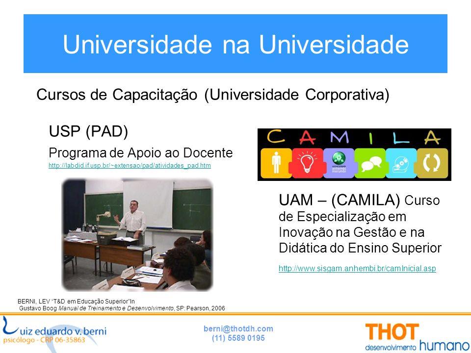 berni@thotdh.com (11) 5589 0195 Universidade na Universidade USP (PAD) Programa de Apoio ao Docente http://labdid.if.usp.br/~extensao/pad/atividades_p